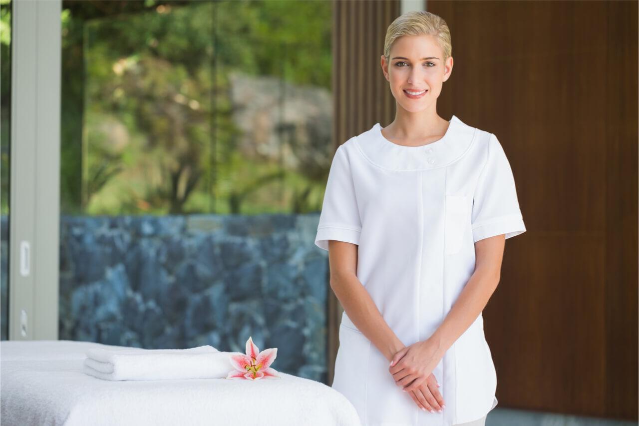 smiling massage professional