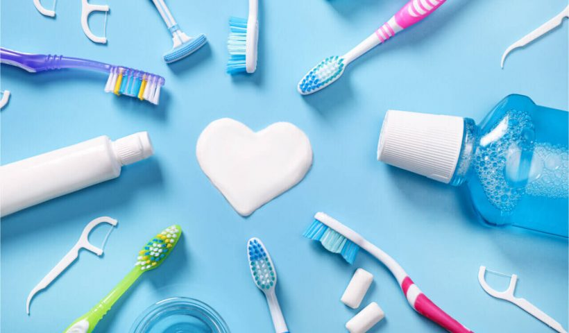 set of dental care products