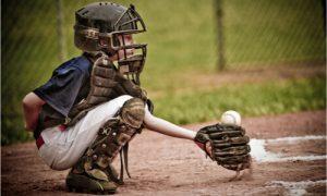 baseball catcher in full gear