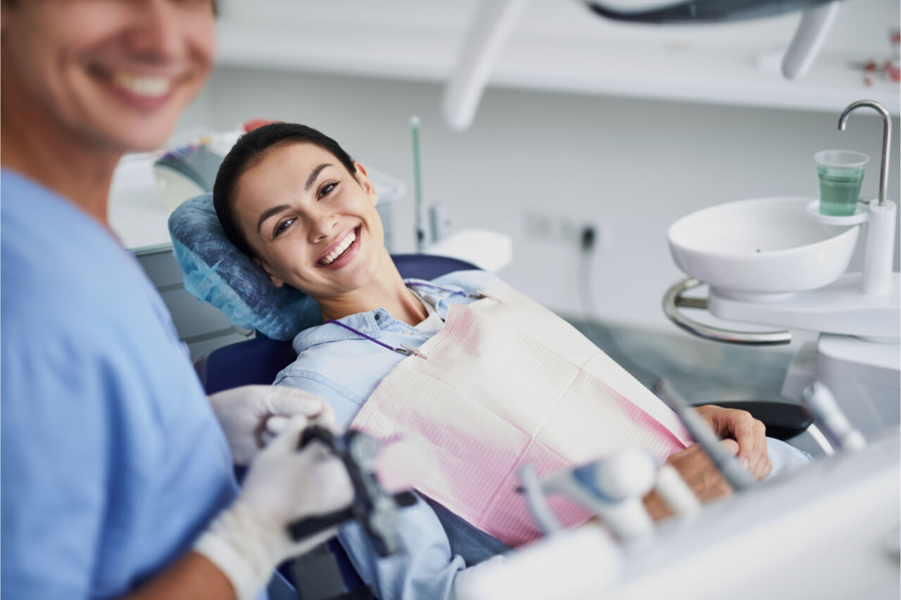 The woman will get a dental implant.